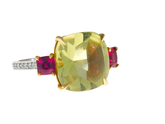 A lemon quartz, pink spinel and diamond ring, Paolo Costagli