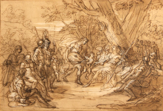 French School, early 18th Century Atalanta and Meleager 7 1/2 x 10in