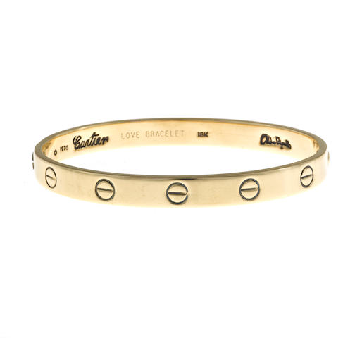 "An eighteen karat gold ""Love"" bangle bracelet, Aldo Cipullo, Cartier,"