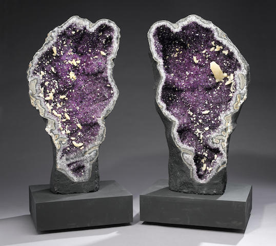 Impressive Pair of Amethyst Geodes with Calcites on Custom Bases