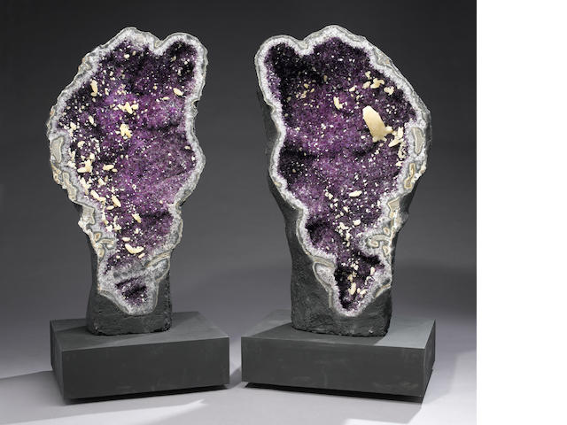 Large Piar of Amethyst Geodes with Calcites on Custom Bases, Agatized Borders