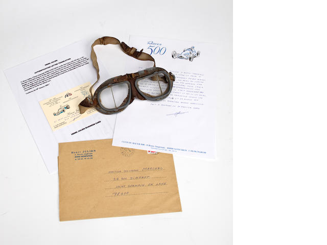 A pair of Tazio Nuvalari Driving Goggles from the Grand Prix of Marseille, 1946,