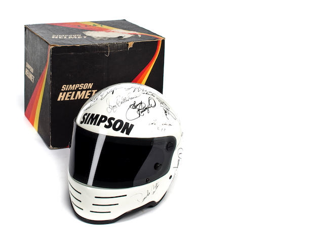 A 1984 Indianapolis 500 helmet with drivers signitures,
