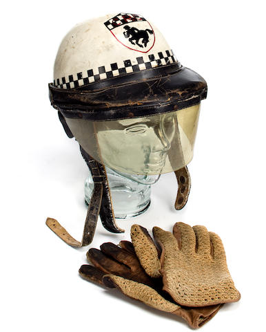A Vintage painted helmet and gloves that belonged to the western movie and television star, Tommy Farrell