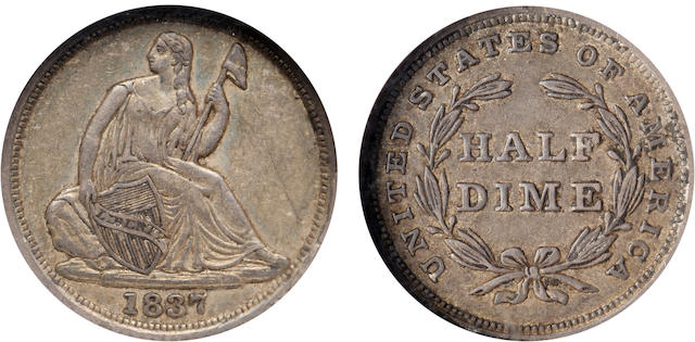 1837 No Stars 10C Large Date AU55 NGC