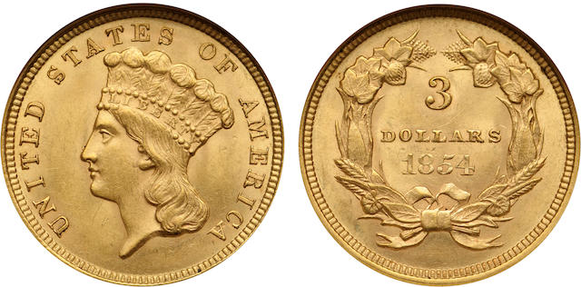 1854 $3 MS62 NGC