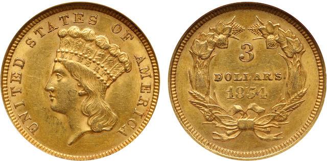 1854 $3 AU58 NGC