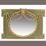 A Louis XVI style paint decorated mirror