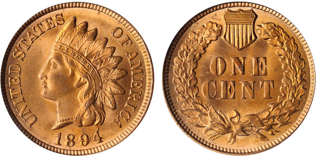 1894 Doubled Date 1C MS65 Red PCGS