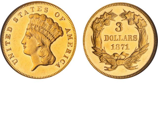 1871 $3 Proof 63 Cameo NGC