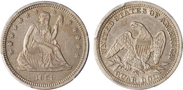 1859-S 25C AU50 PCGS