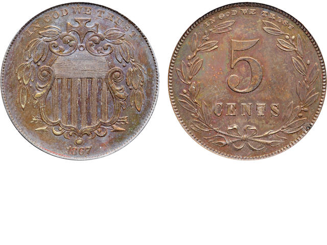 1867 Pattern 5C, Judd-573a, Pollock-647, R.8, Proof 63 Brown PCGS