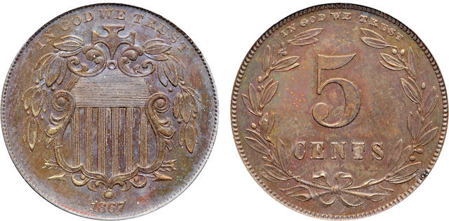 1867 Pattern 5C, Judd-573a, Pollock-647, R.8, Proof 63 Brown PCGS