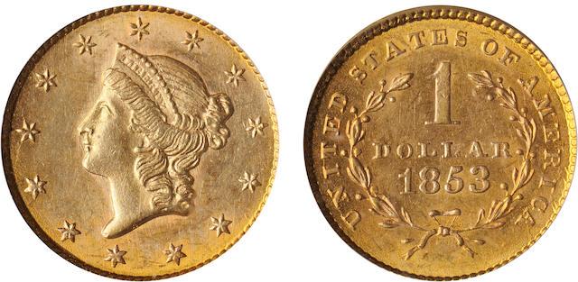 1853 G$1 MS62 PCGS