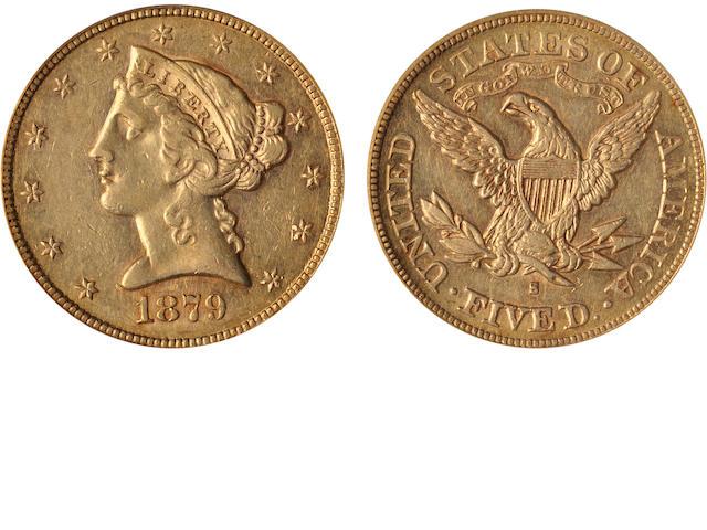 1879-S $5 AU55 ICG