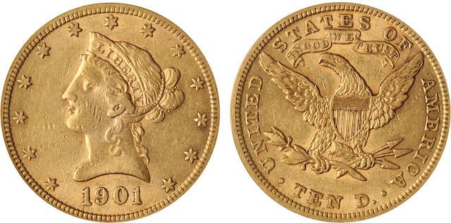 1901 $10 XF45 PCGS