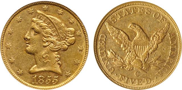 1855-C $5 AU53 PCGS