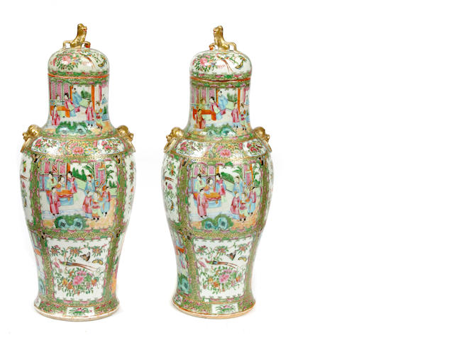 Two Chinese famille rose covered vases