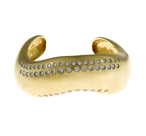 A diamond and eighteen karat gold bangle bracelet, Marcia Loberfeld