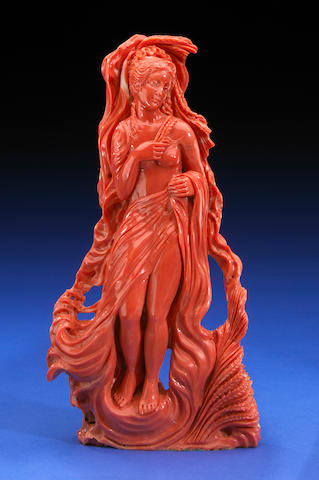 Coral Carving of a Maiden with Wheat Sheaves