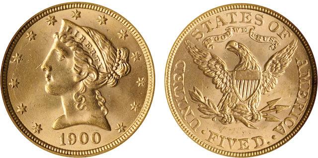 1900 $5 MS64 NGC