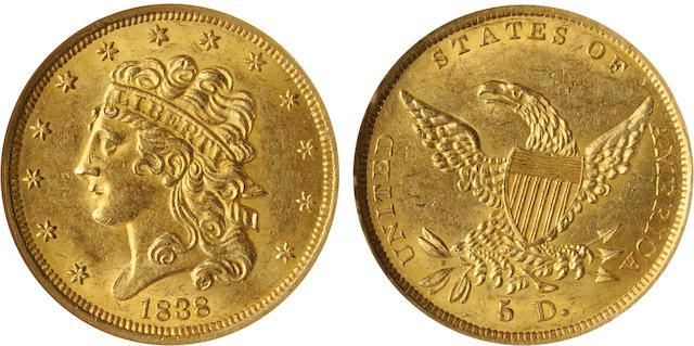 1838 $5 MS61 NGC