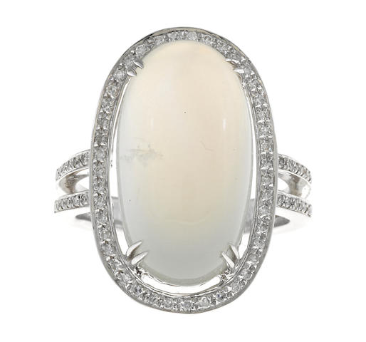 A moonstone and diamond ring