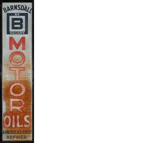 A Barnsdall motor oil sign, c.20s,