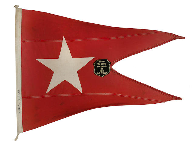 A White Star Line presentation burgee  circa 1912 33-1/2 x 42-1/2 in. (85.1 x 107.9 cm.) framed.