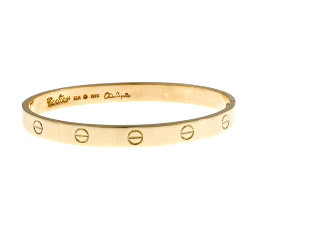 "An eighteen karat gold ""Love"" bangle bracelet, Aldo Cipullo, Cartier, 1970"