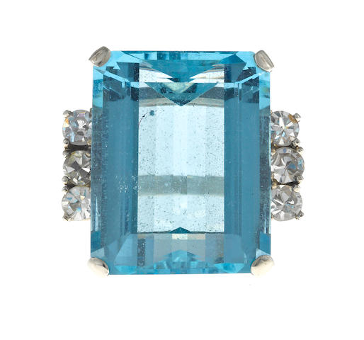 An aquamarine and diamond ring,
