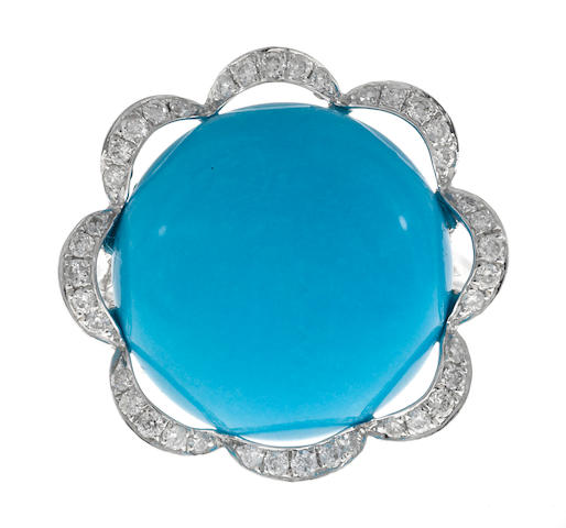 A turquoise and diamond flower ring
