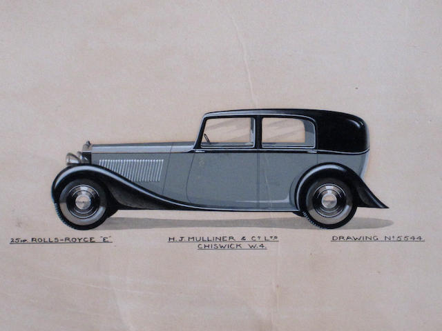 "'25hp Rolls-Royce ""E"", an original color artwork for H.J. Mulliner & Co. Ltd., c.1932,"
