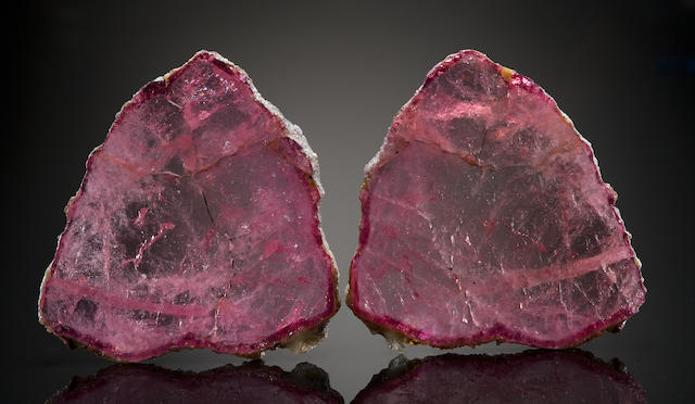 Pair of Pink Tourmaline Slices