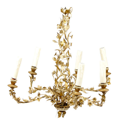 An Italian Rococo style paint decorated and parcel gilt six light chandelier