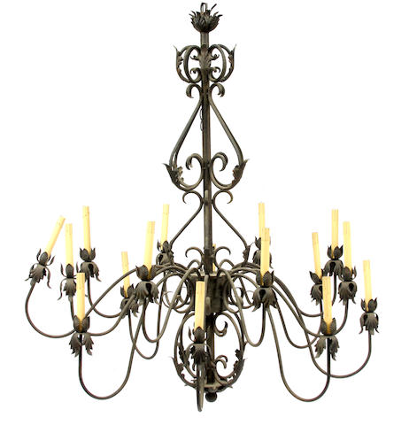 A contemporary iron fifteen light chandelier