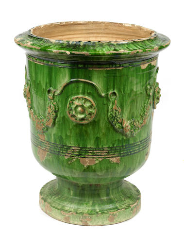 A French green glazed terracotta jardinière