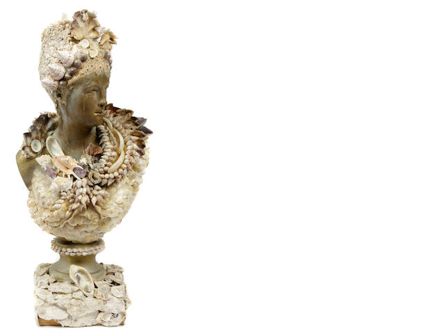 A Grotto style shell clad bust