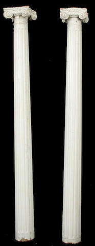 A pair of paint decorated Ionic columns