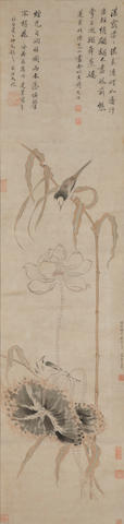 Attributed to Fong Wenzhi (1919-1999) Bind and flower. hanging scroll