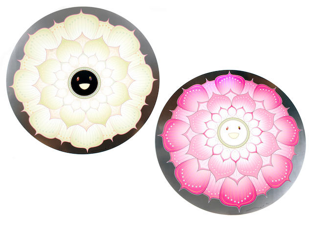 Takashi Murakami (Japanese, born 1962); Lotus Flower (White); Lotus Flower (Pink) ; (2)