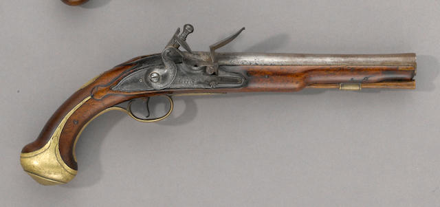 A brass-mounted English flintlock pistol by Griffin
