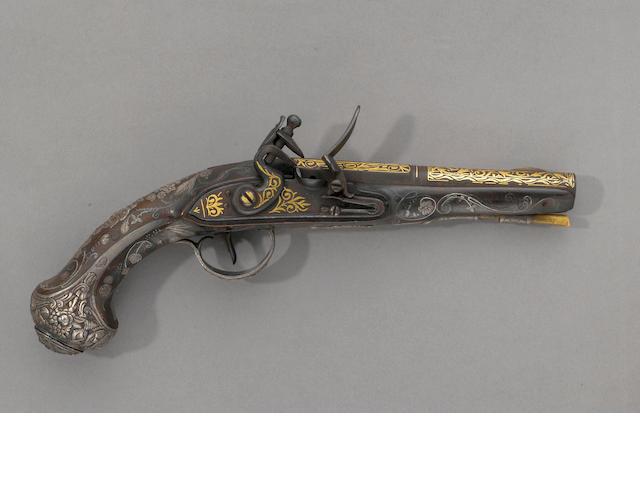 A silver-mounted flintlock pistol bearing Ottoman tughra