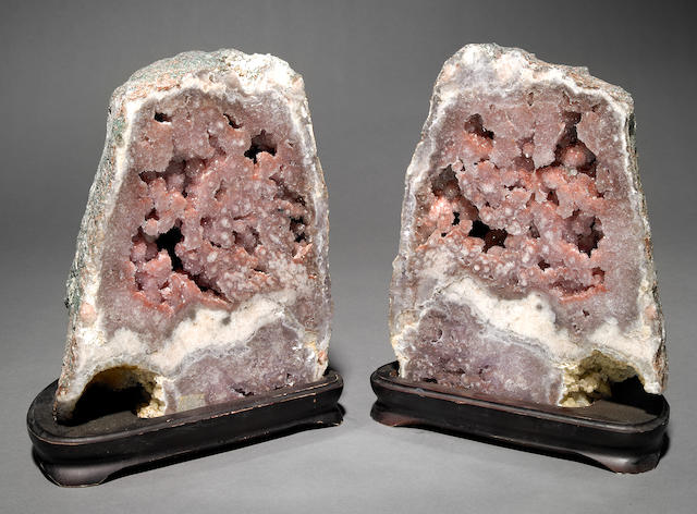 Rose Quartz Geode Pair