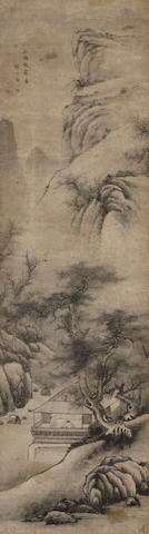 After Zhou Yigui (19th century) Landscape.  hanging scroll with Japanese double wood box