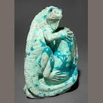 Chrysocolla Carving of an Iguana