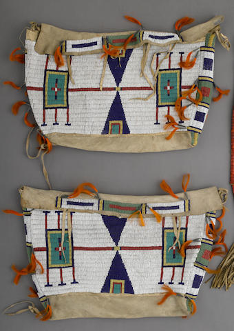 A pair of Cheyenne beaded tipi bags