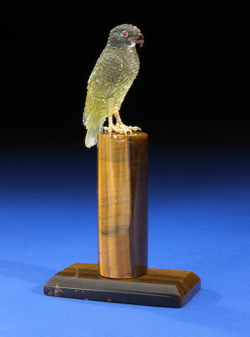 Lemon Quartz Carving of a Falcon on Tiger's Eye Base