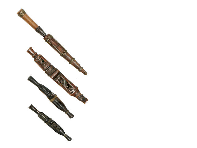 Four Small Shona Knives in Sheaths, Zimbabwe/Mozambique