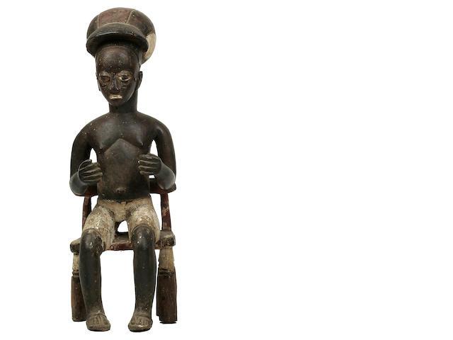 Baule Seated Colonial Male Figure, Ivory Coast